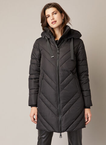 Vegan Down Quilted Coat, Black,  fall winter 2020, warm, coat, vegan down, quilted, stand collar, hood, ribbon drawstring, grosgrain, long sleeve, large zipper, water repellent, diagonal quilting, machine washable, melanie lyne label, outerwear
