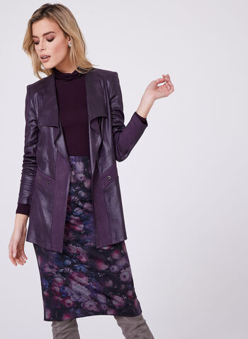Vex - Open Front Faux Leather Jacket, Purple, hi-res