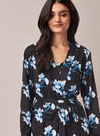 Robe de nuit et peignoir à motif floral , Bleu