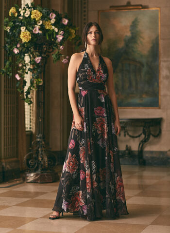 Floral Print Halter Neck Dress, Black,  evening dress, v-neck, halter, floral, chiffon, pleated, spring summer 2020