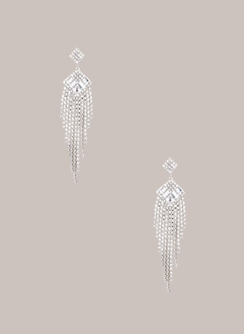 Chandelier Earrings, Silver,  jewellery, accessories, earrings, metallic, crystal, cascade, chandelier, fall winter 2020