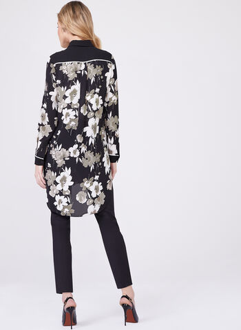 Floral Print Chiffon Top, Black, hi-res