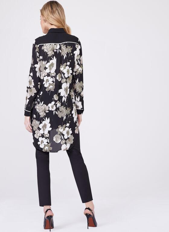 Floral Print Chiffon Top, Black, hi-res