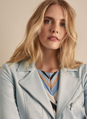 Vex - Faux Leather Jacket, Blue,  spring summer 2020, faux-leather fabric, zipper detail, notch collar