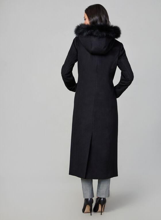 Anne Klein - Manteau long en laine et fourrure, Noir