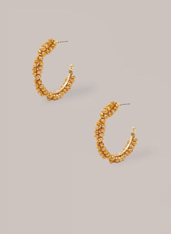 Bead Cluster Hoop Earrings, Gold,  hoop earrings, beads, metallic, golden, spring summer 2020