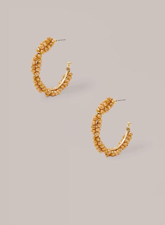 Bead Cluster Hoop Earrings, Gold