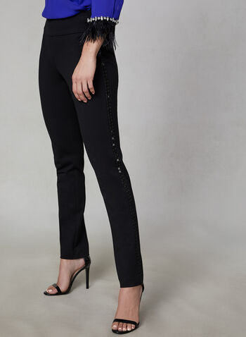 Beaded Trim Slim Leg Pants, Black,  dress pants