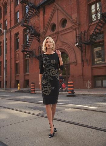 Joseph Ribkoff - Bead Detail Dress, Black,  made in Canada, Joseph Ribkoff, Frank Lyman, dress, boat neck, long sleeves, beaded, fall winter 2021