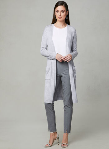 Ribbed Open Front Cardigan, Grey, hi-res
