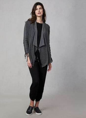 Vince Camuto - Open Front Top, Grey,  top, long sleeves, open front, shawl collar, fall 2019, winter 2019