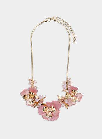 Floral Detail Necklace, Pink, hi-res