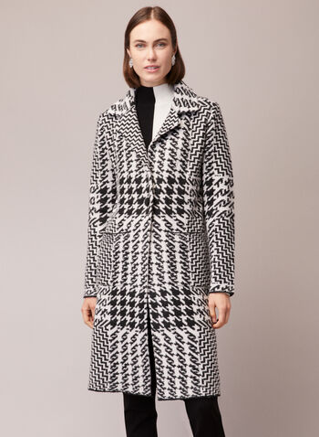 Houndstooth Print Cardigan, Black,  coat, cardigan, houndstooth, notch collar, pockets, fall winter 2020