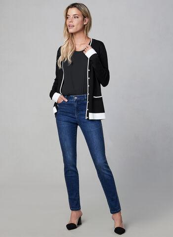 Cardigan en tricot à boutons perlés, Noir, hi-res,  encolure V, manches longues, bordures contrastantes, perles, automne hiver 2019