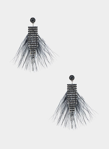 Feather Crystal Cascade Earrings, Black,  feather earrings, rhinestones
