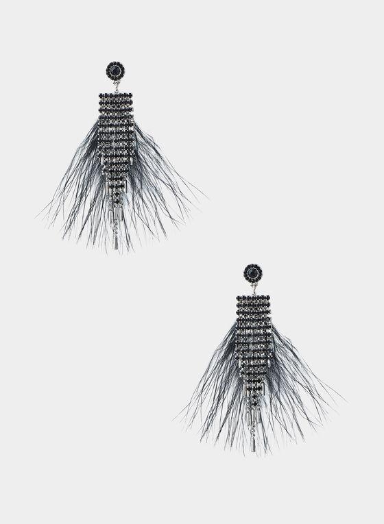 Boucles d'oreilles à cristaux et plumes, Noir