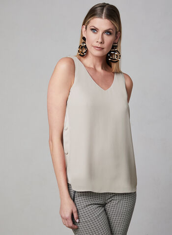Sleeveless Button Detail Blouse, Off White, hi-res