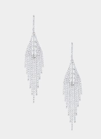 Crystal Chandelier Earrings, Silver, hi-res,  crystal, chandelier, earrings, fall 2019