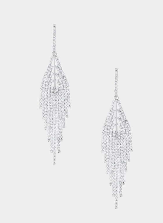 Crystal Chandelier Earrings, Silver, hi-res