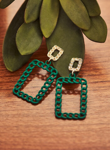 Rectangle Link Dangle Earrings, Green,  jewellery, accessories, earrings, rectangle, chain link, tiered, spring summer 2021