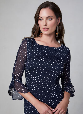 Karl Lagerfeld Paris - Polka Dot Dress, Blue, hi-res,  Karl Lagerfeld Paris, day dress, polka dot, ruffles, 3/4 sleeves, long sleeves, crepe chiffon, fall 2019, winter 2019