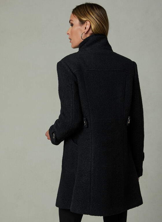 Bouclé Wool Coat, Black
