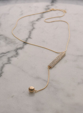 Crystal Detail Y Necklace, Gold,  jewellery, necklace, y, crystal, fine, chain, gold, metallic, pendant, spring summer 2021