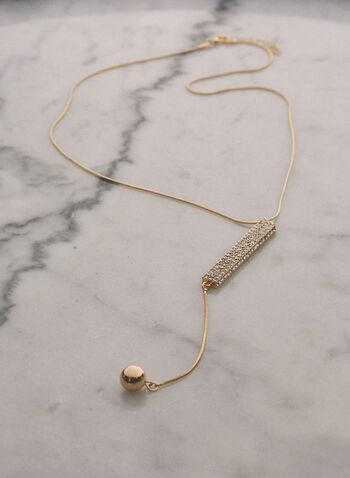 Collier à cristaux et bille dorée , Or,  bijoux, collier, Y, cristaux, fin, chaîne, métallique, pendentif, printemps été 2021
