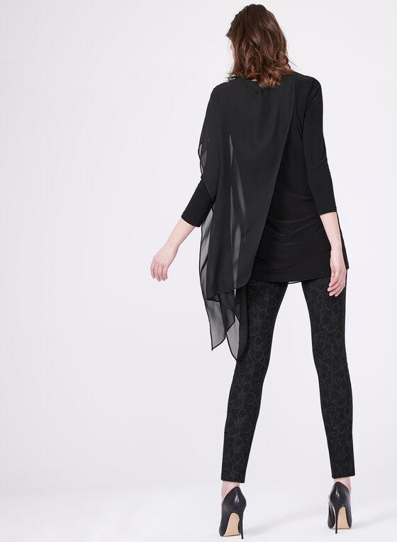 Asymmetric Chiffon & Jersey Tunic, Black, hi-res