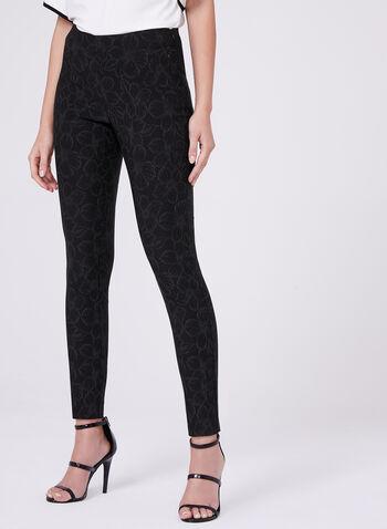 Pantalon Amber longueur cheville à motif fleuri, Noir, hi-res