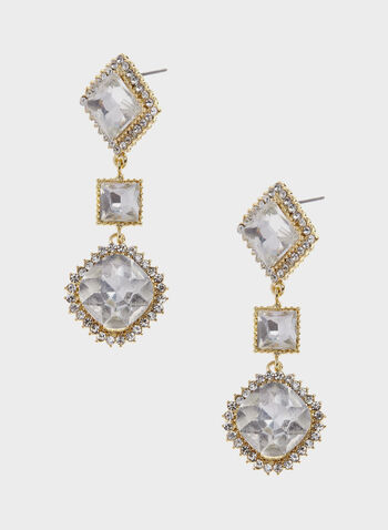 Tiered Geometric Crystal Drop Earrings, Gold, hi-res