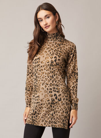 Alison Sheri - Leopard Print Sweater, Brown,  sweater, knit, leopard, ribbed knit, turtle neck, fall winter 2020