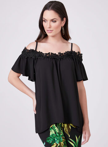 Chiffon Off The Shoulder Top, Black, hi-res