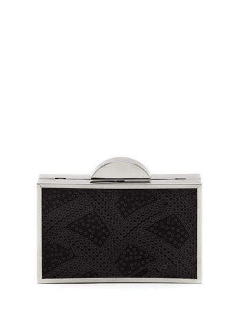 Sequin Box Clutch, Black, hi-res