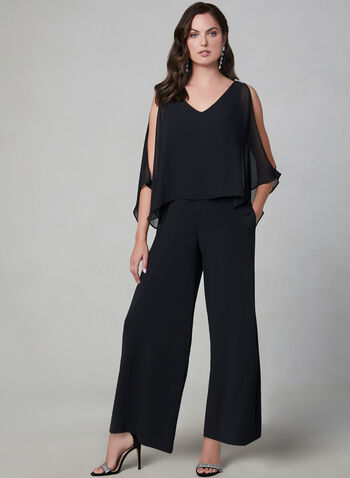 Cold Shoulder Jersey Jumpsuit, Black, hi-res,  jumpsuit, jersey, chiffon, cold shoulder, rhinestones, V-neck, wide leg, fall 2019, winter 2019