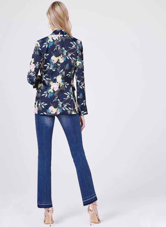Blazer en satin à motif floral, Bleu, hi-res