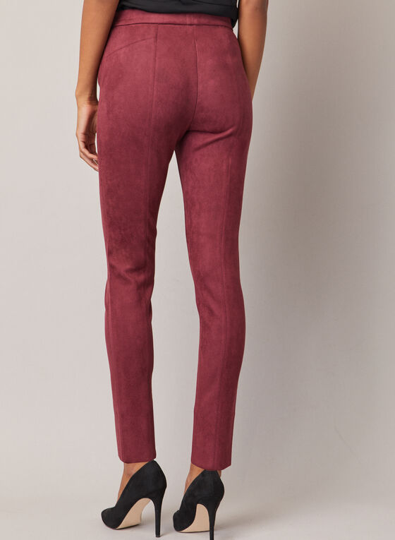 Faux Suede Pull-On Pants, Purple