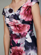 Ignite Evenings - Floral Print Scuba Dress, Black, hi-res