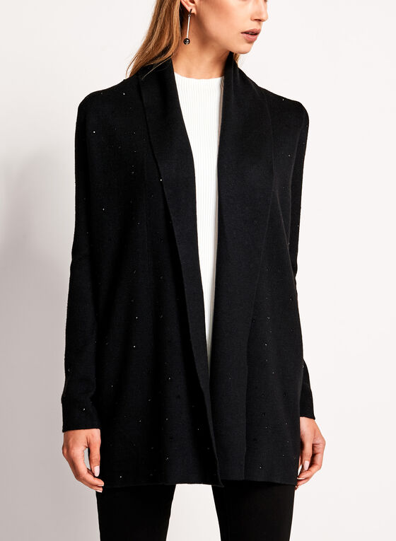 Contrast Embellished Double Knit Cardigan, Black, hi-res