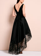 Betsy & Adam- Lace Trim Evening Dress, Black, hi-res