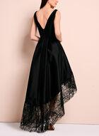 Lace Trim Evening Dress, Black, hi-res