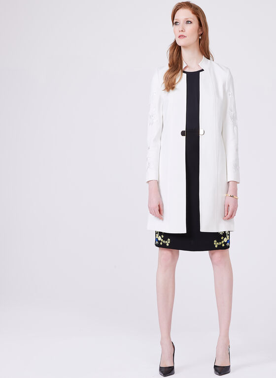 Ponte de Roma Embroidered Redingote, Off White, hi-res