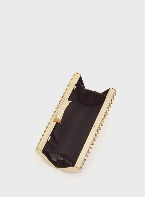 Metallic Grill Box Clutch, Gold, hi-res