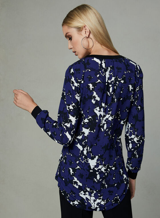 Abstract Print Crepe Tunic, Blue