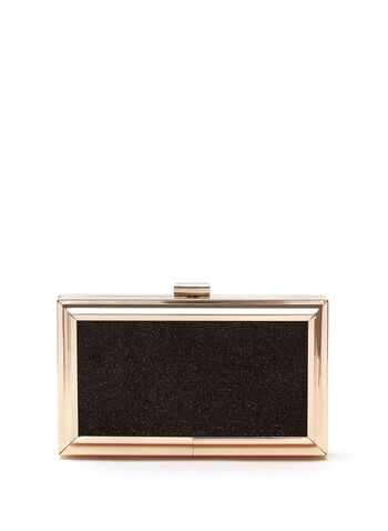 Metal Frame Box Clutch, Black, hi-res