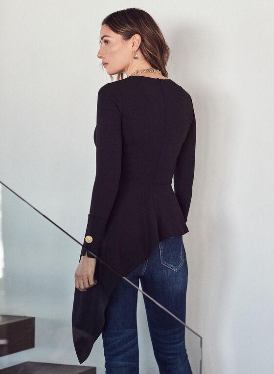 Asymmetric Peplum Top, Black
