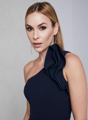Eliza J - Robe en crêpe à une épaule dénudée, Bleu, hi-res