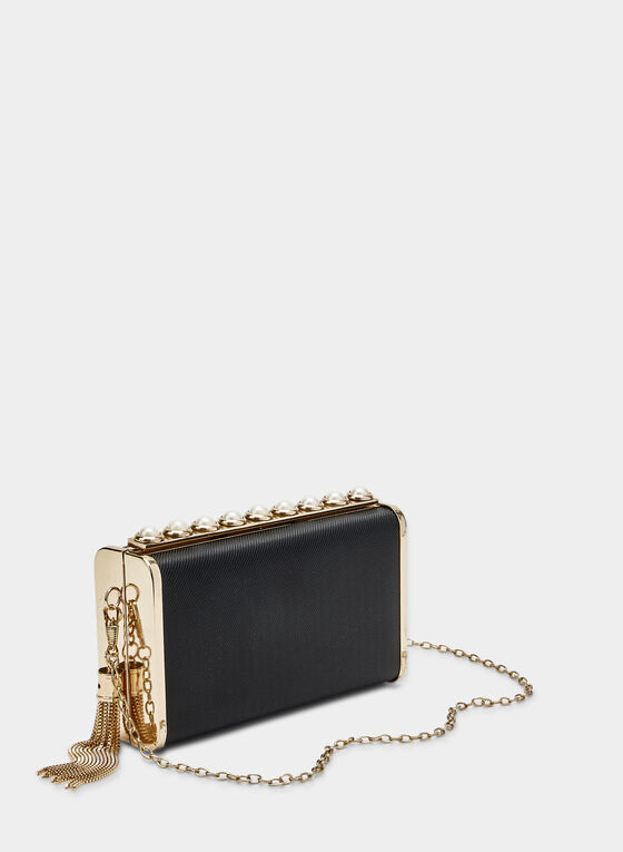 Pearl Detail Clutch, Black