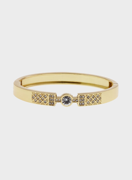 Crystal Embellished Hinge Bangle, Gold, hi-res