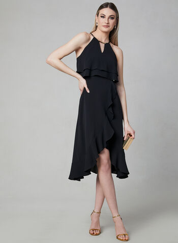 Kensie - Halter Neck Asymmetric Dress, Black, hi-res,  Spring 2019, cocktail dress, crepe, halter neck, sleeveless